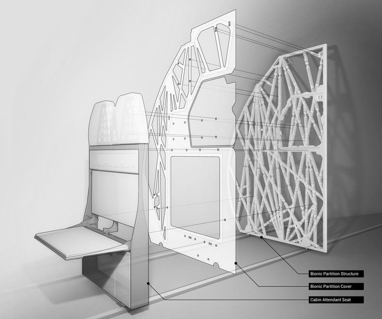 The Living's 3D Printed Airplane Partition is Designed to Mimic Bone Structure, © The Living