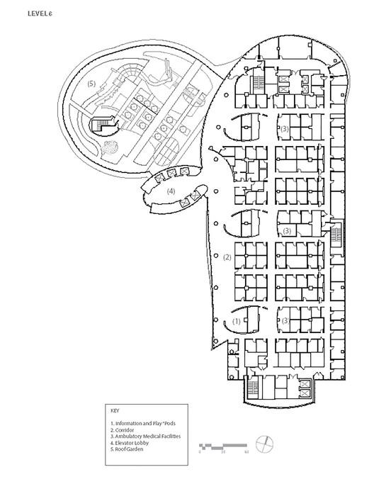 طرح عکس معماری کلینک بیمارستان 6 طبقه 6th Floor Plan