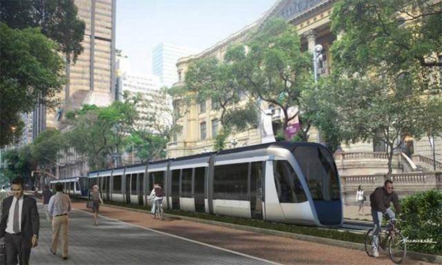 Av. Rio Branco no Rio de Janeiro ganhará bulevar junto a trilho do VLT, VLT atravessará o boulevard Rio Branco. Foto via Mobilize