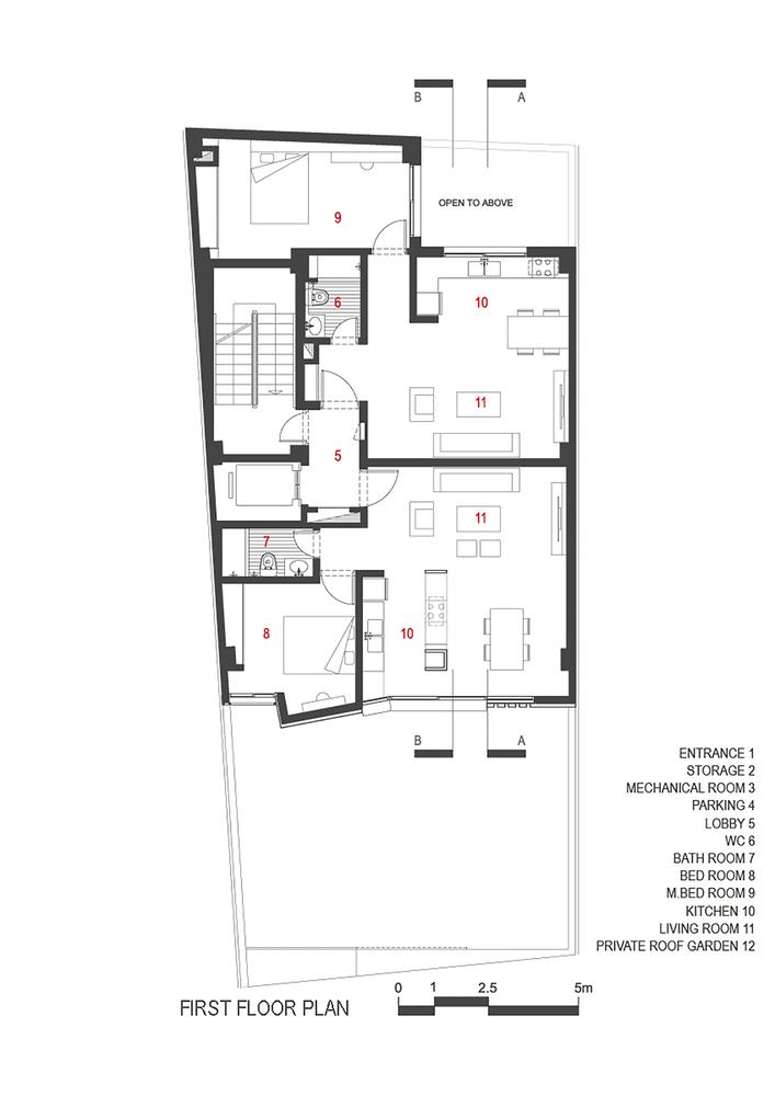 Villa Residential Apartment,First Floor Plan