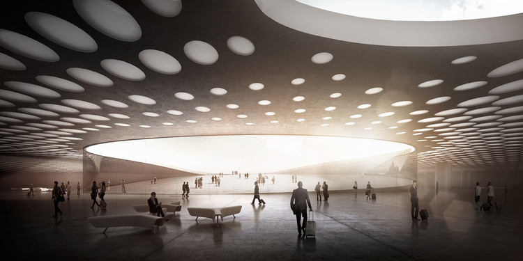 WALL Designs New Paveletskaya Transit Hub for Moscow, Logistics level. View of the inclined part of the square. Image Courtesy of WALL Architectural Bureau