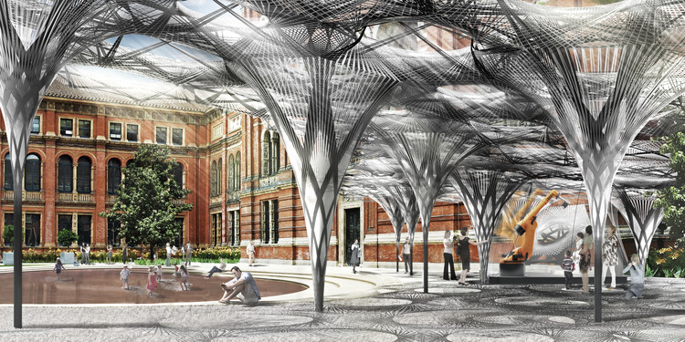 Achim Menges to Create Robotic Pavilion for V&A , Elytra Filament Pavilion, render, V&A John Madejski Garden 2016. Image © ICD/ITKE University of Stuttgart