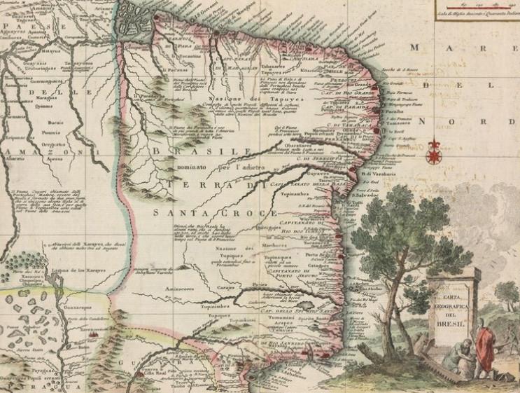 Mapas antigos do Brasil entre os séculos XVI e XIX, Fonte: Mapas do Brasil - Coleção Digital de 32 Mapas do Séc XVI ao XIX