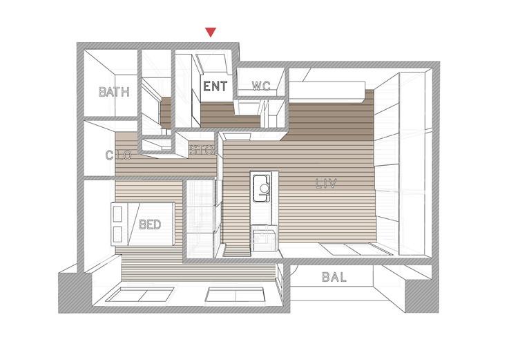 Opera taka shinomoto voar design haus archdaily for Japanese apartment floor plan