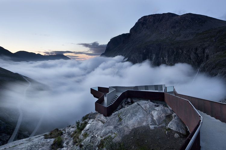 Nine Projects to be Highlighted in 'In Therapy', the Nordic Contribution to the 2016 Venice Biennale, RRA's National Tourist Route in Trollstigen is among nine selected projects which will be displayed in-depth. Image via RRA