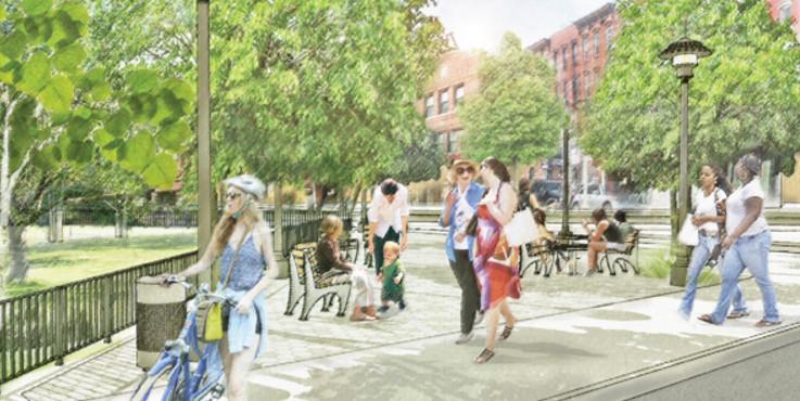 """""""Parques sem Fronteiras"""": o plano de Nova Iorque para criar parques mais acessíveis, Proposta para espaços adjacentes. Imagem © Departamento de Parques de Nova Iorque"""