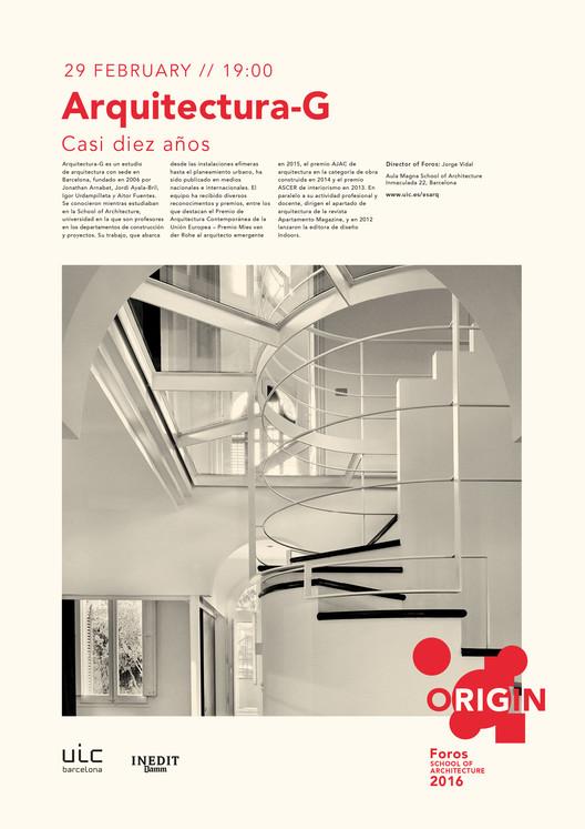 Foros 2016 ORIGIN: conferencia de Arquitectura-G