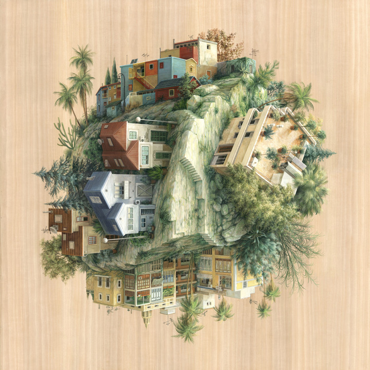 Abismo arquitetônico nas ilustrações de Cinta Vidal, Tree cities and a house. Imagem cortesia de Cinta Vidal