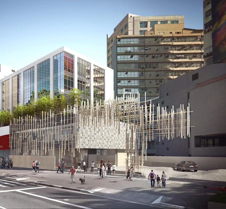 Kengo Kuma divulga projeto da Japan House em São Paulo, Fachada voltada para a Av. Paulista. Image Cortesia de Divulgação
