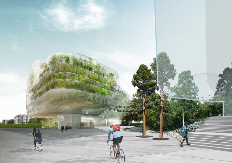 Drivhus – Planning & Administrative Offices for the City of Stockholm / UD Urban Design AB + Selgas Cano Architecture, Rendered Main Entrance View. Image Courtesy of Urban Design AB & SelgasCano