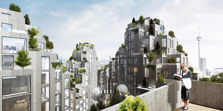 BIG Designs Moshe Safdie-Inspired Habitat for Toronto, Courtyard. Image © BIG