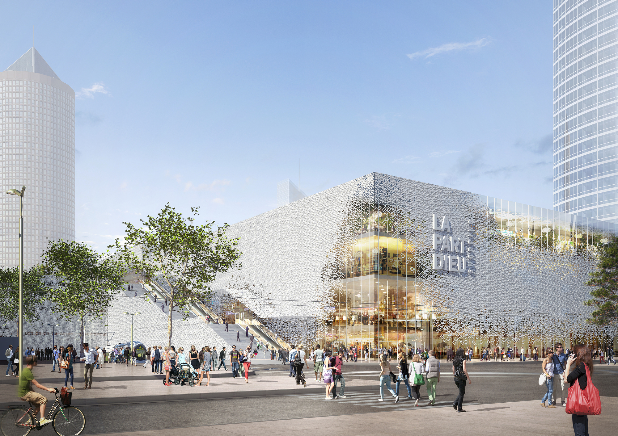 Mvrdv reveals plans to transform part dieu shopping center for Piscine concept lyon