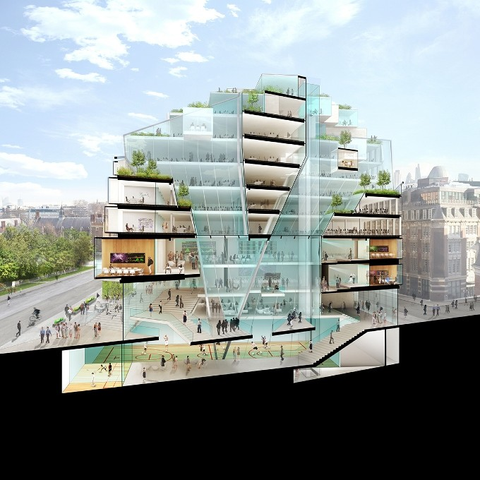 LSE Reveals 6 Schemes for its Paul Marshall Building, Team A. Image Courtesy of RIBA