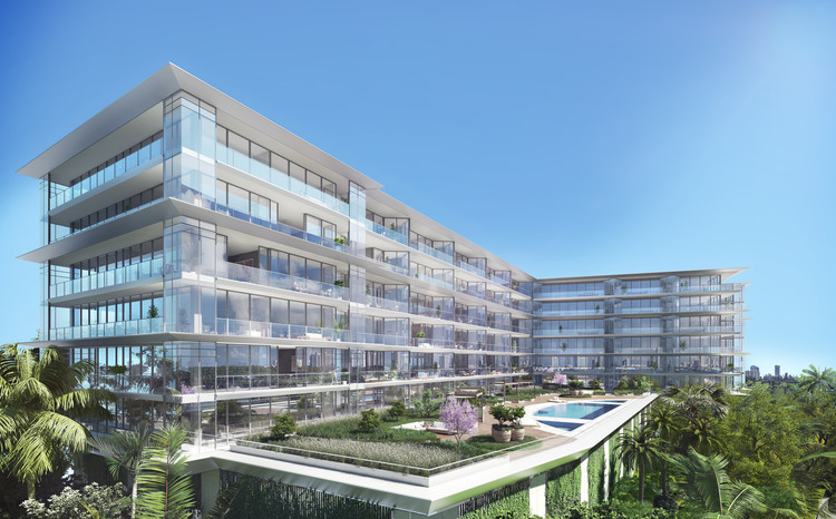 Ricardo Bofill Makes US Condominium Debut with 3900 Alton in Miami Beach, Exterior Rendered View. Image Courtesy of Nadine Johnson & Associates