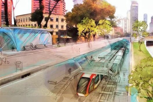 Infografía: 70 años del postergado Plan Metro de Bogotá, Croquis especulativo sobre Plan Metro en Bogotá. Image vía Alcaldía Mayor de Bogotá