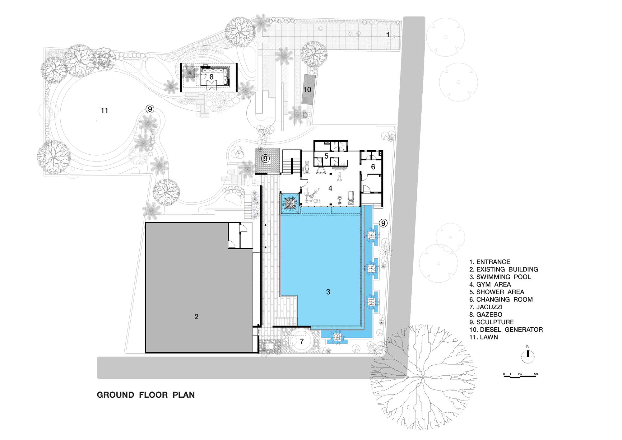 Gallery of pool house abin design studio 21 for Swimming pool floor plan
