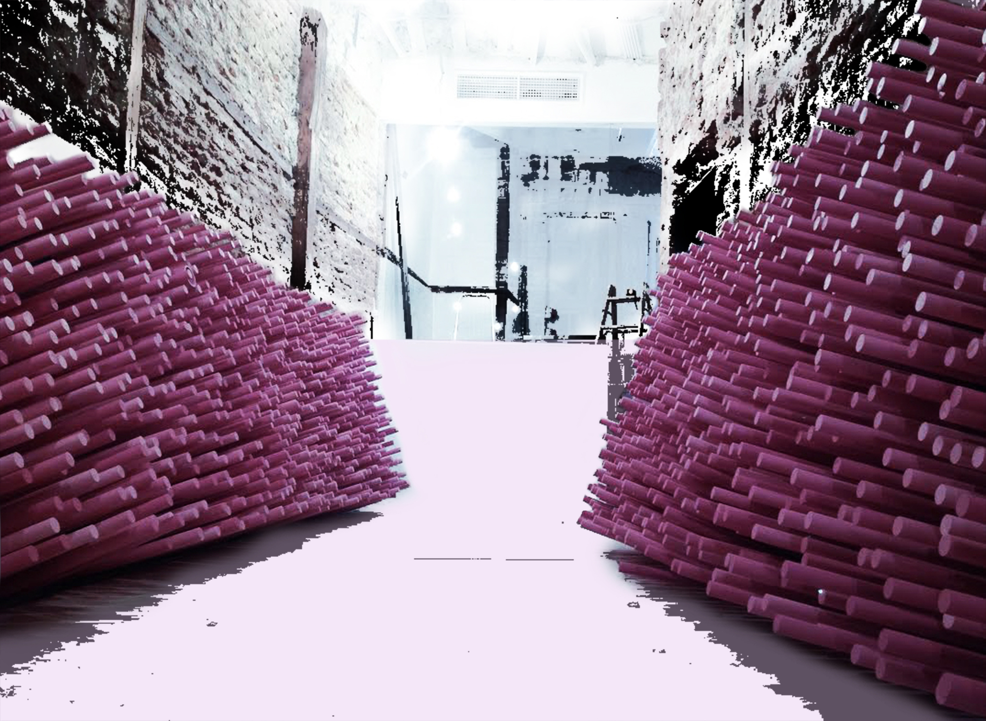 Gallery of 12 000 pink painted wooden sticks ideo for Arquitectura prehistorica