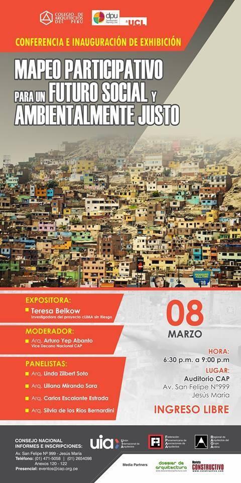 """Conferencia """"Mapeo participativo para un futuro social y ambientalmente justo"""", Cortesía de Colegio de Arquitectos del Perú"""