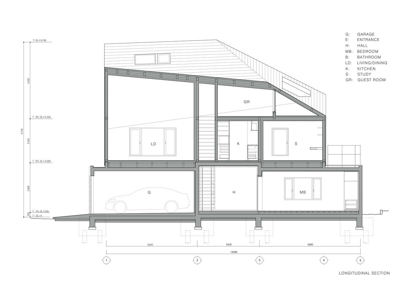 U House,Longitudinal Section