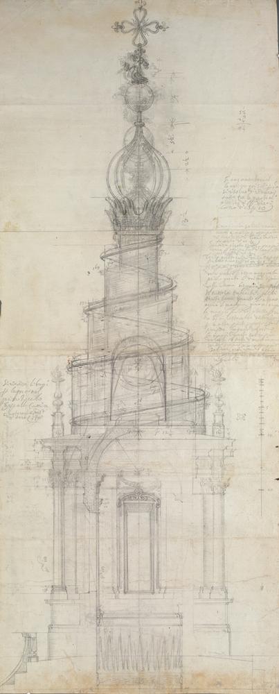 Exhibition: Architectural Master Drawings from the Albertina Collection,Francesco Borromini (1599 – 1667) Lantern in the S. Ivo alla Sapienza, Rome, 1649 – 1652. Image © ALBERTINA, Wien