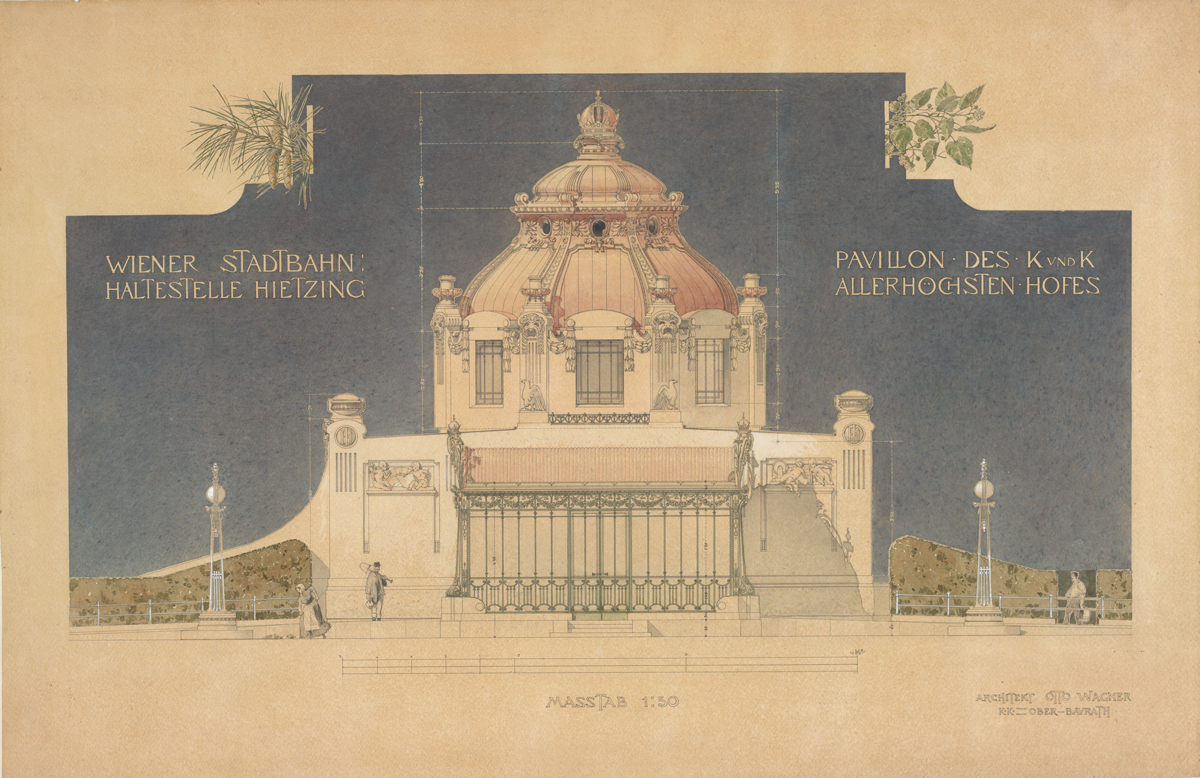 Exhibition: Architectural Master Drawings from the Albertina Collection,Otto Wagner (1841 – 1918) Courtyard pavilion of the city railway in Vienna-Hietzing Orthogonal elevation, 1898. Image © ALBERTINA, Wien