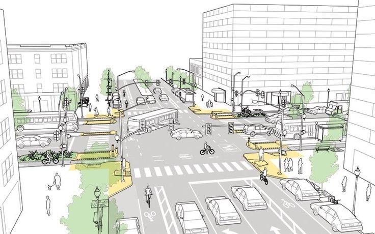 5 propostas de cruzamentos mais seguros para diferentes modais de transporte, © NACTO