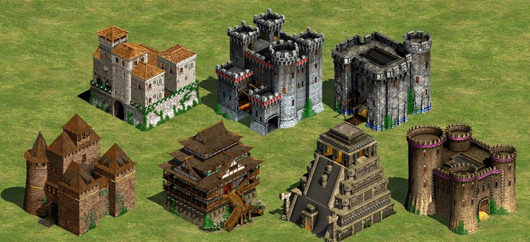 De Starcraft a Age of Empires: quando a arquitetura é o vídeo-game, Castelos de Age of Empires 2 © Ensemble Studios - 1999.