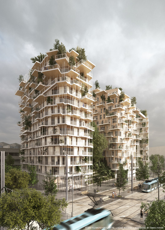 Sou Fujimoto and Laisné Roussel Propose Wooden Mixed-Use Tower for Bordeaux, Exterior Rendered View. Image © SOU FUJIMOTO ARCHITECTS + LAISNÉ ROUSSEL + RENDERING BY TÀMAS FISHER AND MORPH.