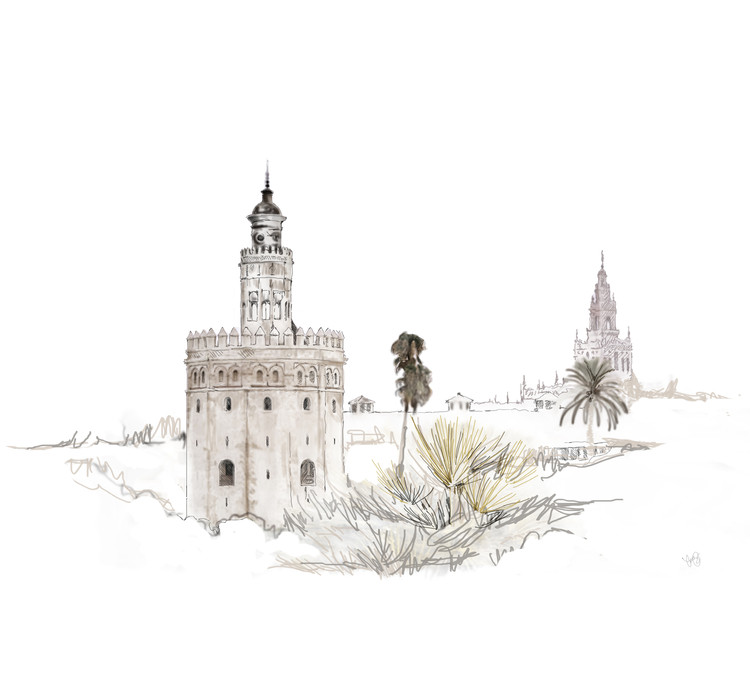 Seville Traditional Architecture and Urbanism Summer School 2016, Premio Rafael Manzano Martos. Dibujo realizado por Carmen Bueno