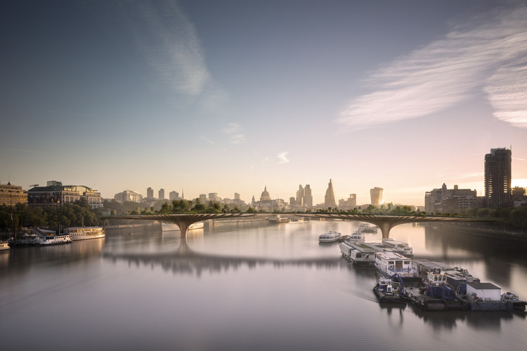 Monocle 24 Investigates Gardens and the Public Life of Plants, Heatherwick Studio's proposed Garden Bridge scheme across the River Thames, London. Image Courtesy of Arup