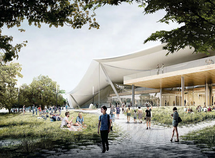 BIG y Heatherwick actualizan diseño del nuevo campus de Google en Mountain View, Exterior Rendered Perspective. Image Cortesía de Google