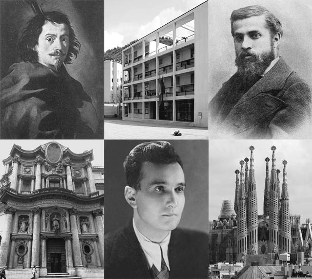 7 arquitetos que morreram de forma estranha (e deixaram um legado impressionante), Francesco Borromini (1599-1667), Giuseppe Terragni (1904-1943) y Antoni Gaudí (1852-1926)