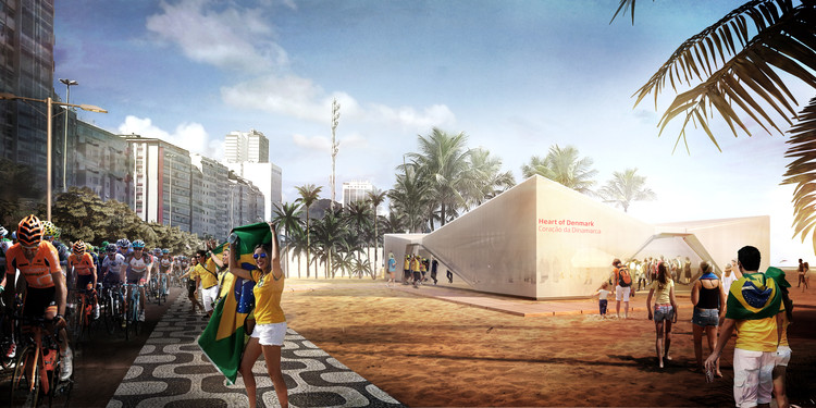 Henning Larsen Designs Sail-Inspired Denmark Pavilion for the 2016 Summer Olympics, Exterior Rendered Perspective. Image Courtesy of Henning Larsen