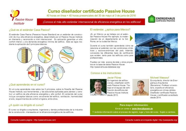 Curso 'Diseñador Certificado Passivhaus' / Ciudad de México, Passivhaus Insitut