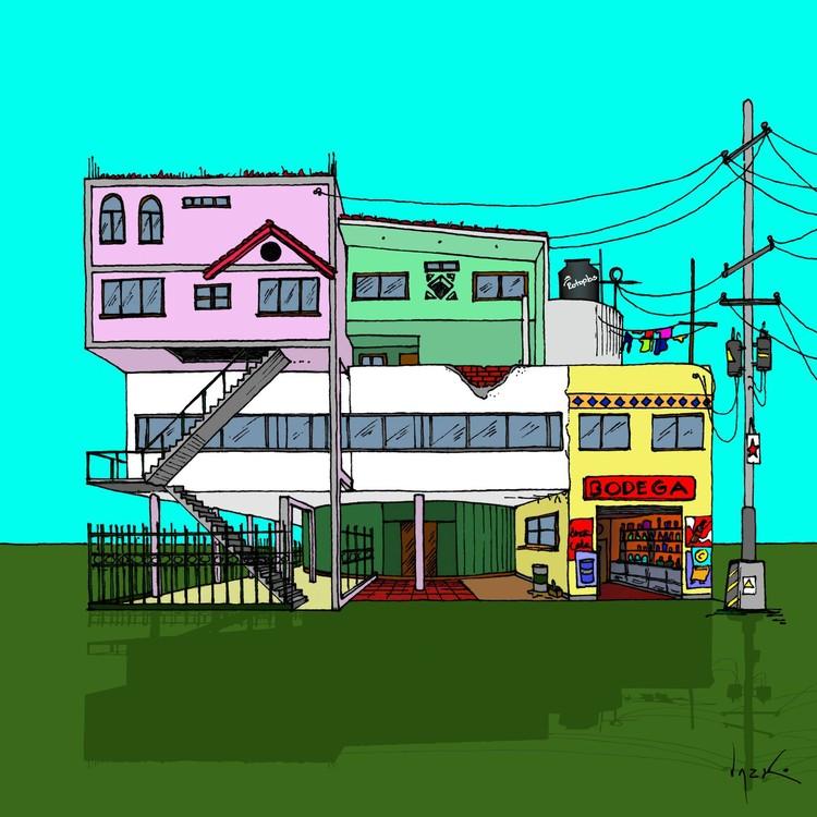 Arquitectura y humor crítico: Las viñetas de Lucho Gris, arquitecto peruano, Si la Villa Savoye estuviera en el Perú. Image Cortesía de Lucho Gris, arquitecto peruano