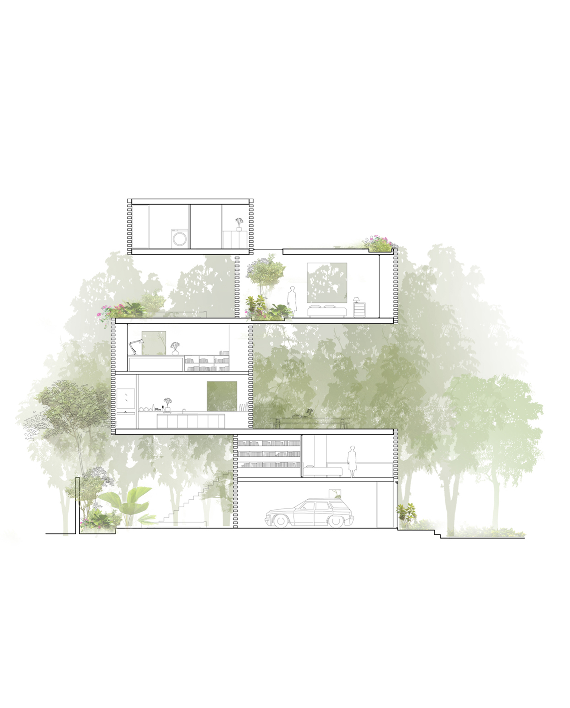 Gallery of thong house nishizawaarchitects 25 for Architecture house drawing