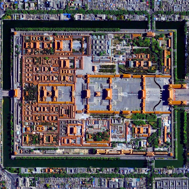 Civilization in Perspective: Capturing the World From Above, Forbidden City, Beijing, China. Image Courtesy of Daily Overview. © Satellite images 2016, DigitalGlobe, Inc