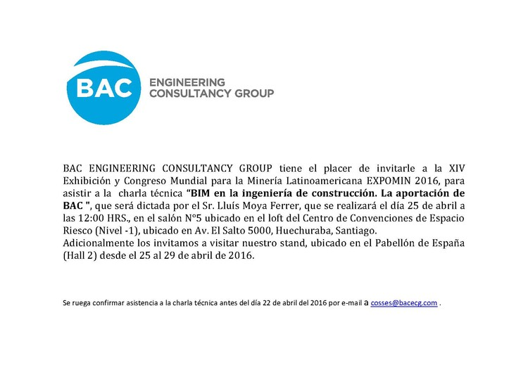 Charla Técnica: 'BIM, en la ingeniería de construcción. La aportación de BAC', BAC ENGINEERING CONSULTANCY GROUP