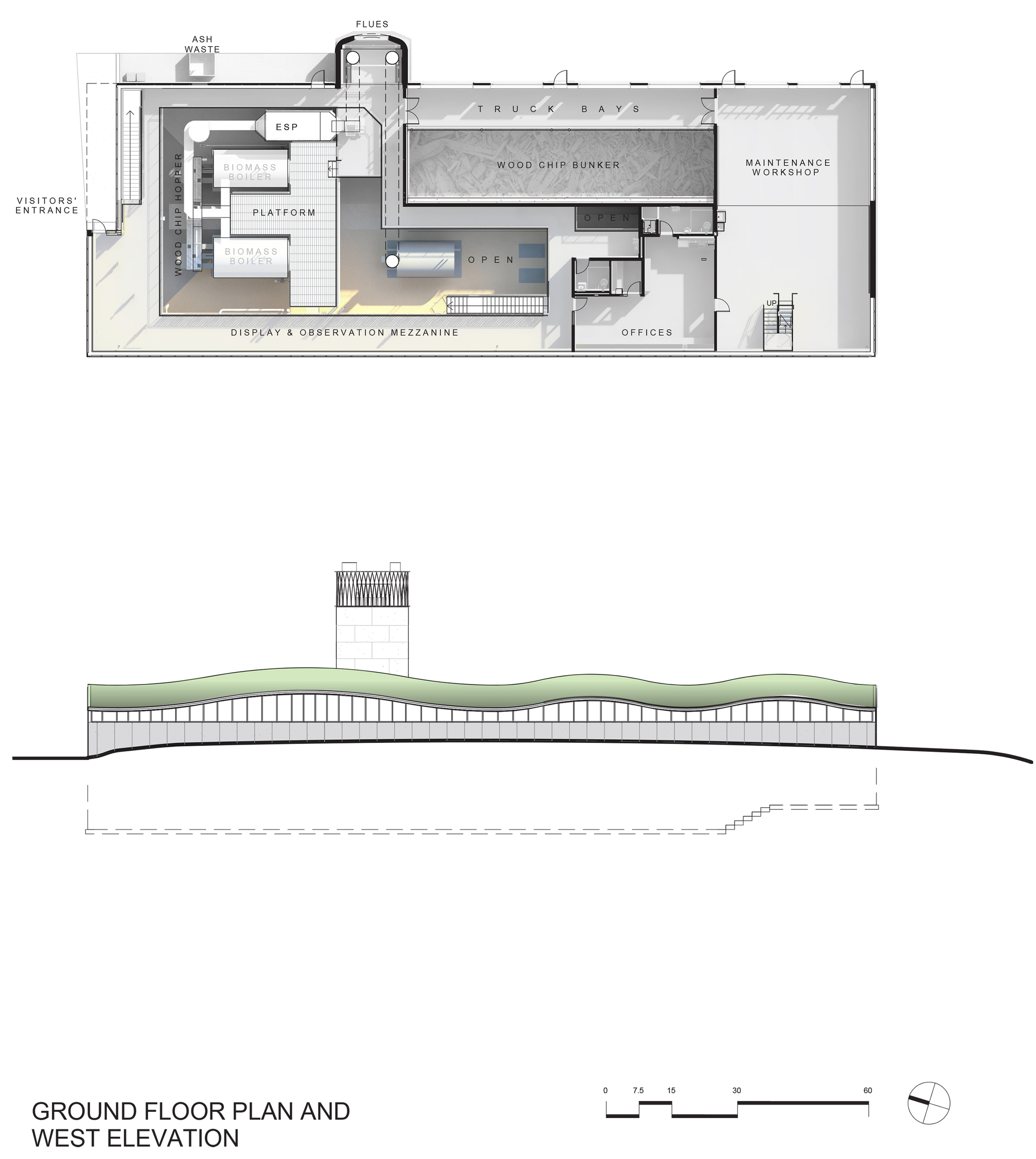 Ground Floor Elevation With Staircase : Galeria de usina biomassa hotchkiss centerbrook
