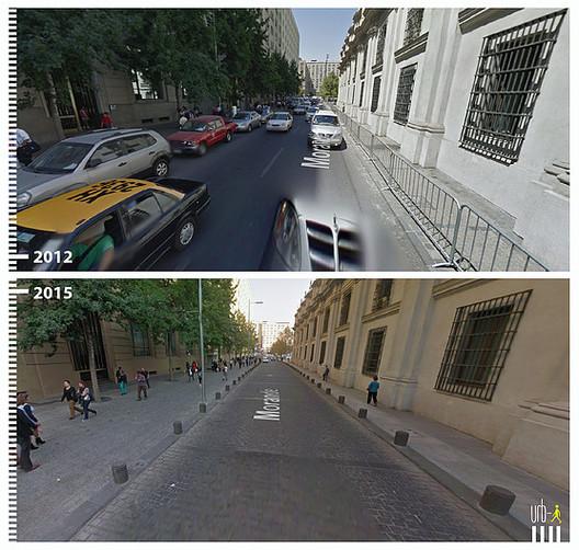 Antes/Depois: Mil imagens de transformações urbanas a favor da mobilidade sustentável , Calle Morandé, Santiago de Chile. Imagem © Urb-i