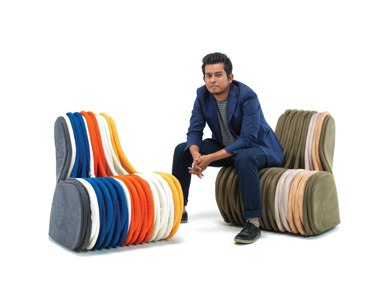 Godrej DesignLab: The Genesis of Great Design, Ranjan Bordoloi with his creation, the Kaathfula Chair  Designed for Godrej DesignLab 2016. Image Courtesy of Godrej DesignLab