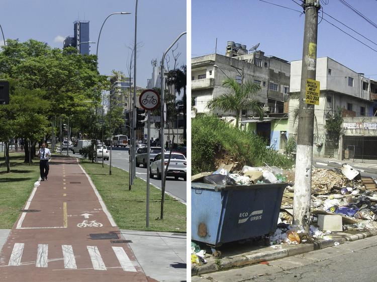 Os 20 distritos com os IDH mais altos e mais baixos de São Paulo, À esquerda, Av. Faria Lima; à direita, Capão Redondo.