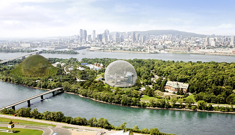 Dror Proposes New Vegetated Biosphere for Montreal, Courtesy of Dror