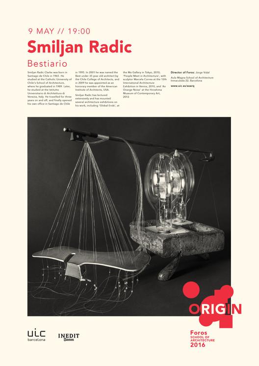 "Foros 2016 ORIGIN: conferencia de Smiljan Radic ""Bestiario"""