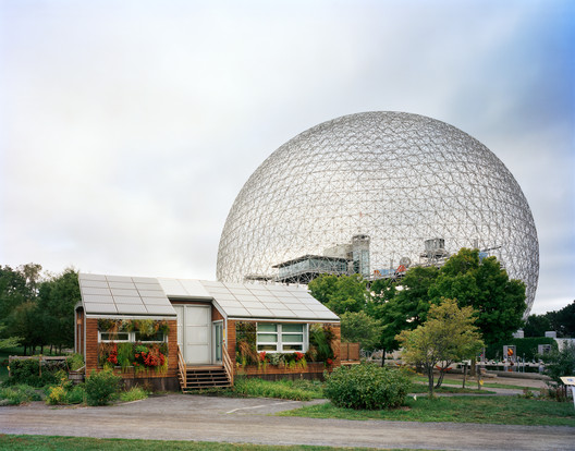 "Montreal 1967 World's Fair, ""Man and His World,"" Buckminster Fuller's Geodesic Dome With Solar Experimental House 2012. Image © Jade Doskow"