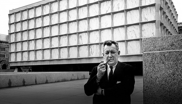 Spotlight: Gordon Bunshaft, Gordon Bunshaft outside the Beinecke Rare Book Library. Image Courtesy of SOM / © Alburtus – Yale News Bureau