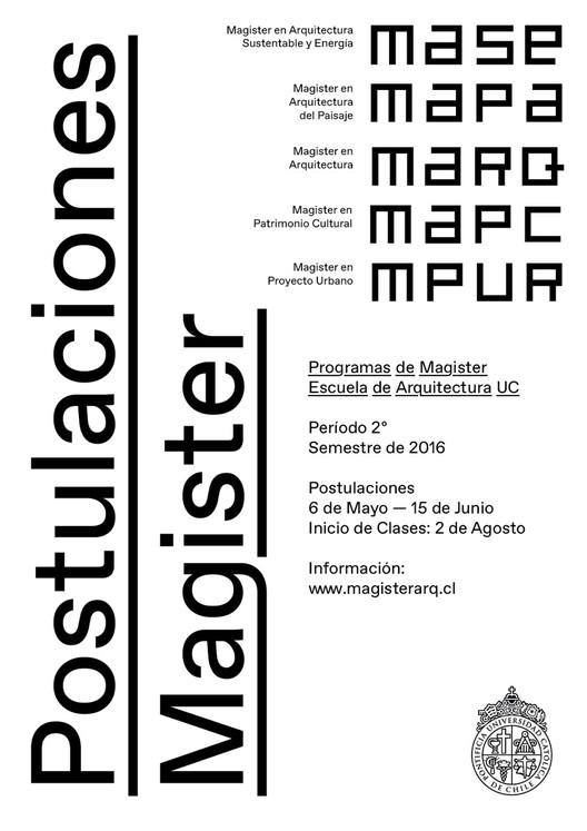 Inscripciones Abiertas para los Programas de Magíster de la Escuela de Arquitectura UC, Cortesía de Pontificia Universidad Católica de Chile