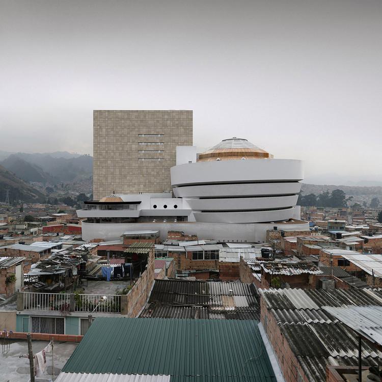 Víctor Enrich 'fotografa' o Guggenheim de Nova Iorque na periferia de Bogotá, Ciudad Bochica. Imagem © Víctor Enrich