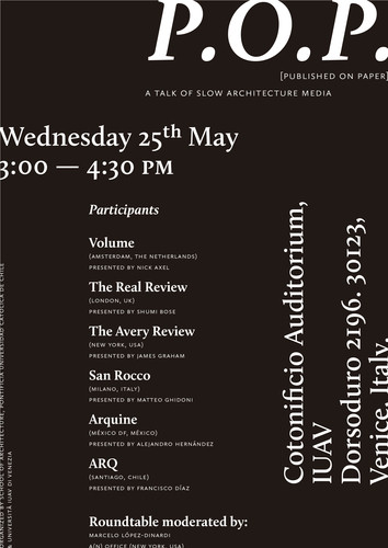 P.O.P. [Published on Paper] A Talk of Slow Architecture Media
