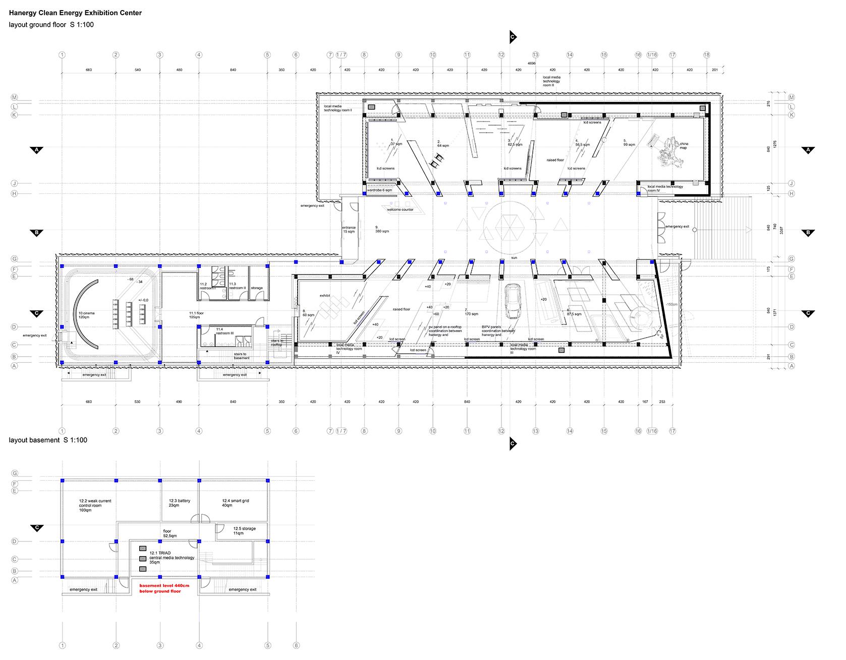 Exhibition Plan D : Gallery of hanergy renewable energy exhibition center